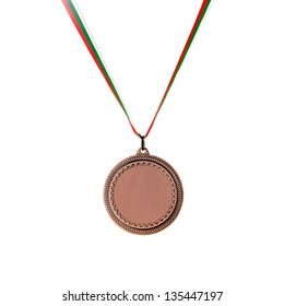 Bronze blank medal isolated on white