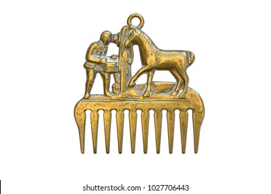 Bronze (brass) vintage decor comb with a horse and a man.