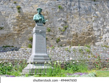 Bronze buste of french impressionist painter Charles-Francois Daubigny in Auvers-sur-Oise near Paris, France