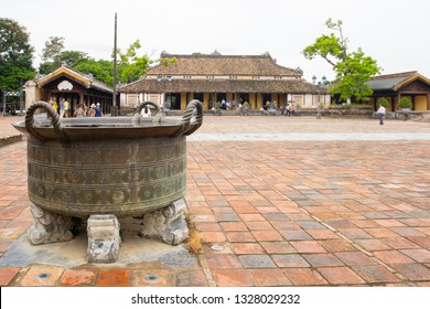 bronze cauldron on courtyard of Hue citadel