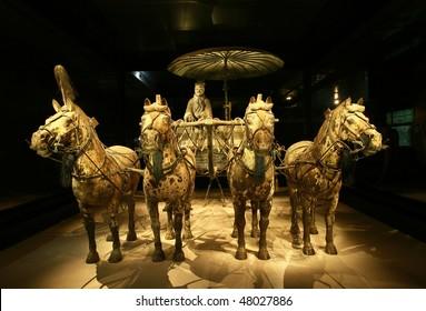 Bronze chariot of emperor in Xian terracotta army museum