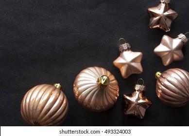 Bronze Christmas Tree Balls, Copy Space