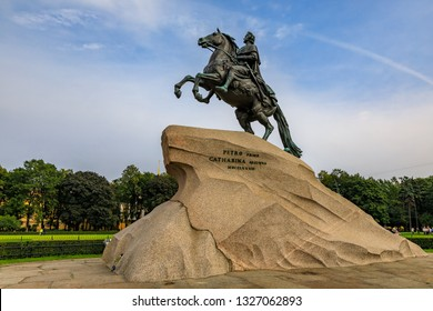 The Bronze or Copper Horseman Monument to Peter the Great Commissioned by Catherine the Great in 1782, in Saint Petersburg, Russia