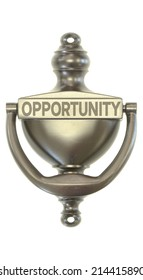 A bronze door knocker with the word opportunity on it symbolizing new opportunities
