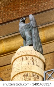 Bronze eagle on the facade of the Palazzo del Governo (Government Palace) inaugurated in 1934 by Benito Mussolini in the fascist era - Taranto, Puglia, Italy
