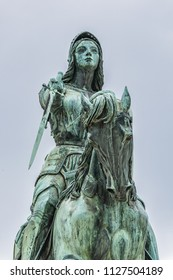Bronze equestrian statue of Jeanne d'Arc (Joan of Arc, 1855) in the centre of Place du Martroi (Martroi square) in Orleans, France.