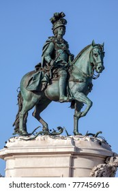 Bronze equestrian statue of King Jose I in Lisbon, sculpted by Joaquim Machado de Castro, unveiled on the kings birthday in 1775, considered the first work of public art in Portugal.