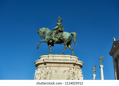 "Bronze equestrian statue of King Vittorio Emanuele II of Italy Translation: ""To Vittorio Emanuele II Father of the Homeland"""