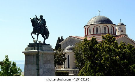 Bronze equestrian statue of Mehmet Ali Pasha in front of orthodox church in old town of Kavala, Greece