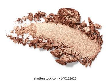 Bronze eye shadow stroke isolated on white background