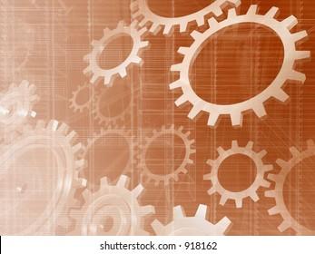 Bronze gears engineering technology backdrop.