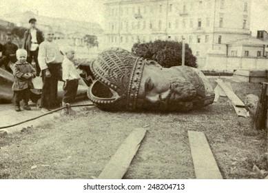 Bronze head of ruined statue of Czar Alexander III during Russian Revolution. 1917.