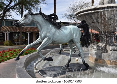 Bronze horse statue and fountain in Old Town, Scottsdale Arizona 3/31/18