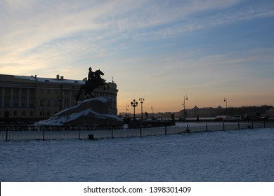 Bronze Horseman (copper horseman) is equestrian statue of Peter Great in Senate Square in Saint Petersburg, Russia - 2012. Catherine Commissioned. Сreated by French sculptor Etienne Maurice Falconet