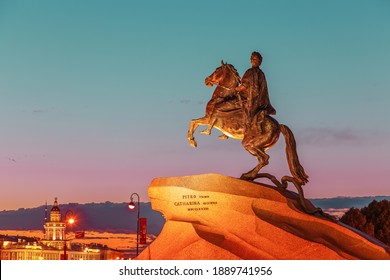 The Bronze Horseman - equestrian statue of Peter the Great. One of the symbols of St. Petersburg, white night.