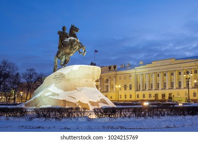Bronze Horseman (Monument to Peter the Great) on the Senate Square in St. Petersburg in winter. Its opening was held on 7 (18) August 1782