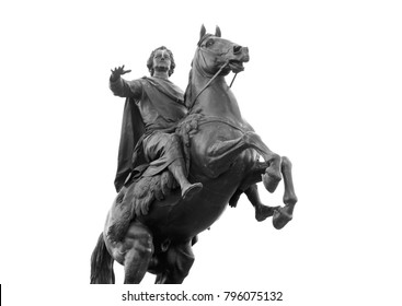Bronze Horseman - monument to Peter I on the Senate Square in St. Petersburg, Russia. Black and white.