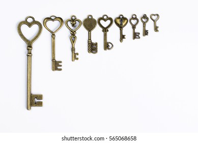 Bronze keys with heart Valentines Day