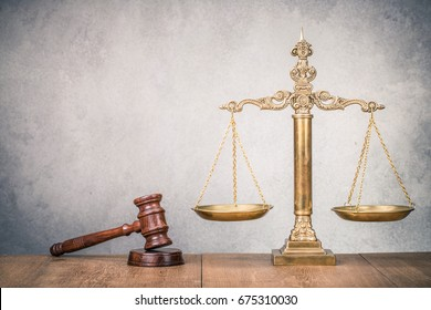 Symbol table images stock photos vectors shutterstock bronze law scales and wooden gavel on table symbols of justice vintage old style urtaz Images