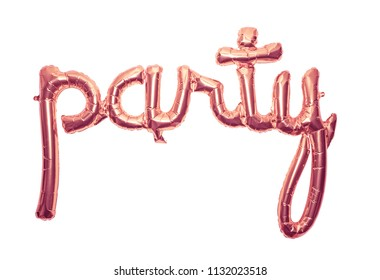 Bronze letter foil balloon spelling the word party