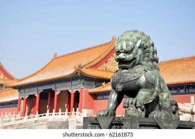 Bronze Lion in Forbidden City Beijing, China