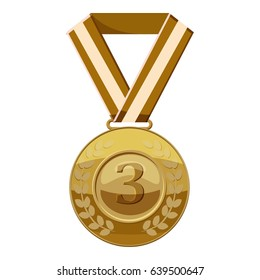 Bronze medal with number three icon. Cartoon illustration of bronze medal with number three  icon for web