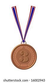bronze  medal on white background