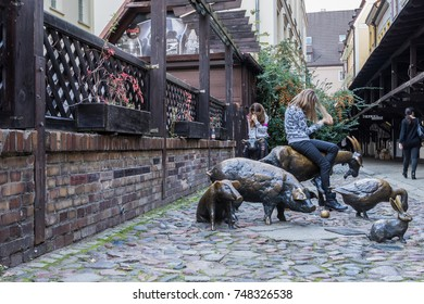 Bronze Memorial to Slaughtered Animals, reminder of the street's history, popular and the most photographed monuments in the small medieval lane that was the town's abattoir, Wroclaw, Poland, 10/15/17