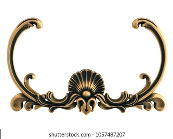 Bronze ornament on a white background. Isolated. 3D illustration