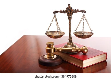 Bronze scales and gavel,book on the judge's desk
