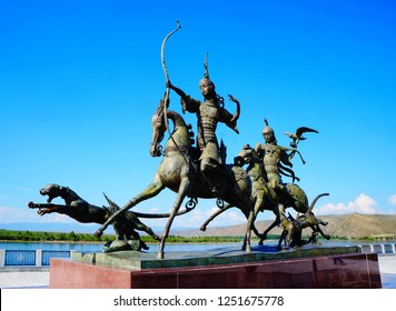 Bronze sculptural ensemble `Tsar hunt`, created by Russian Buryat artist Dashi Namdakov on an embankment of the Yenisei River, Kyzyl, Tuva Republic, Southern Siberia, Russia Asia