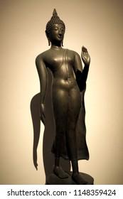 Bronze sculpture of Buddha image in Sukhothai era, Thailand