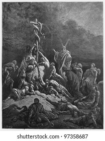 The Bronze Serpent - Picture from The Holy Scriptures, Old and New Testaments books collection published in 1885, Stuttgart-Germany. Drawings by Gustave Dore.