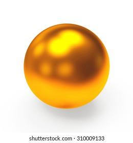 Bronze shining sphere isolated on a white background