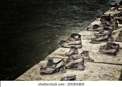 Bronze shoes on the Danube bank, holocaust memorial on the Pest side of the Danube river promenade honouring the jews killed during the world wide war II
