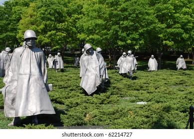 Bronze Soldiers on Patrol at Korean War Memorial, Washington Mall, Washington DC