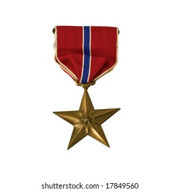 A Bronze star awarded for valor in action. isolated with a clipping path