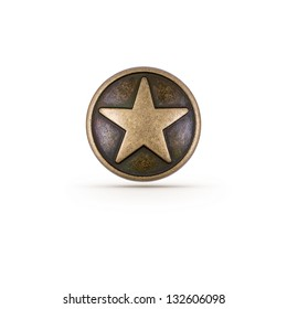 Bronze star symbol on isolated background