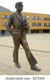 Bronze statue of Alan Turing, mathematician and pioneer of computer science. On campus of University of Surrey, Guildford, England.