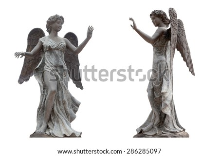 bronze statue angel wings isolated on stock photo edit now