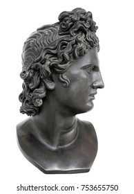 Bronze statue of Appollo against white background. Apollo in classical Greek and Roman mythology is a god of music, truth and prophecy, healing, the sun and light, plague and poetry.