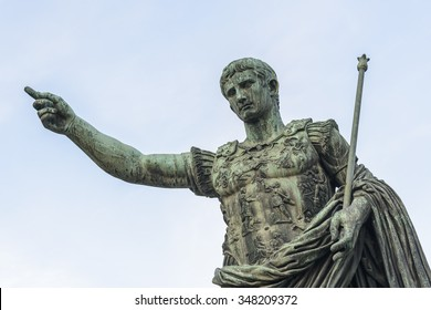 Bronze statue of Augustus, the first emperor of Rome and father of the nation, Rome, Italy, Europe