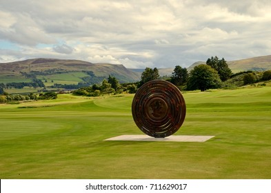 Bronze statue to celebrate the 2014 coming home Ryder Cup to Gleneagles in Pershire, Scotland. UK. September 2017
