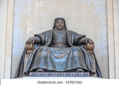 bronze statue of Chingiis Khaan Mongolian Emperor