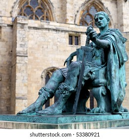 A bronze statue of Constantine I outside York Minster in England