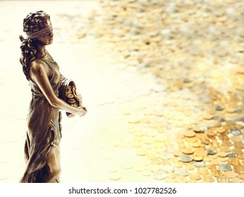 Bronze statue of Fortune, the goddess of good fortune and wealth.