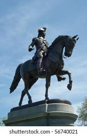 Bronze statue of George Washington on horse in Boston Public Garden
