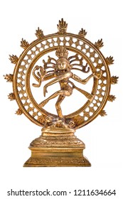 Bronze statue of indian hindu god Shiva Nataraja - Lord of Dance isolated on white