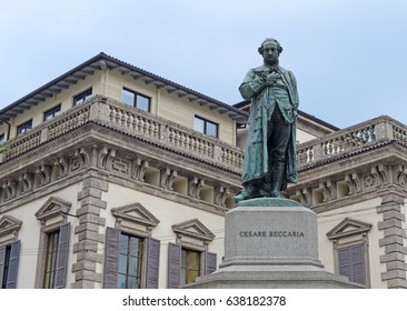 Bronze statue of the Italian philosopher and politician Cesare Beccaria in Milan, Lombardy, Italy with selective focus