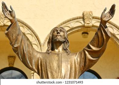 Bronze statue of Jesus.